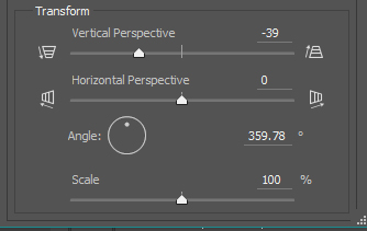 Lens correction filter custom transform menu