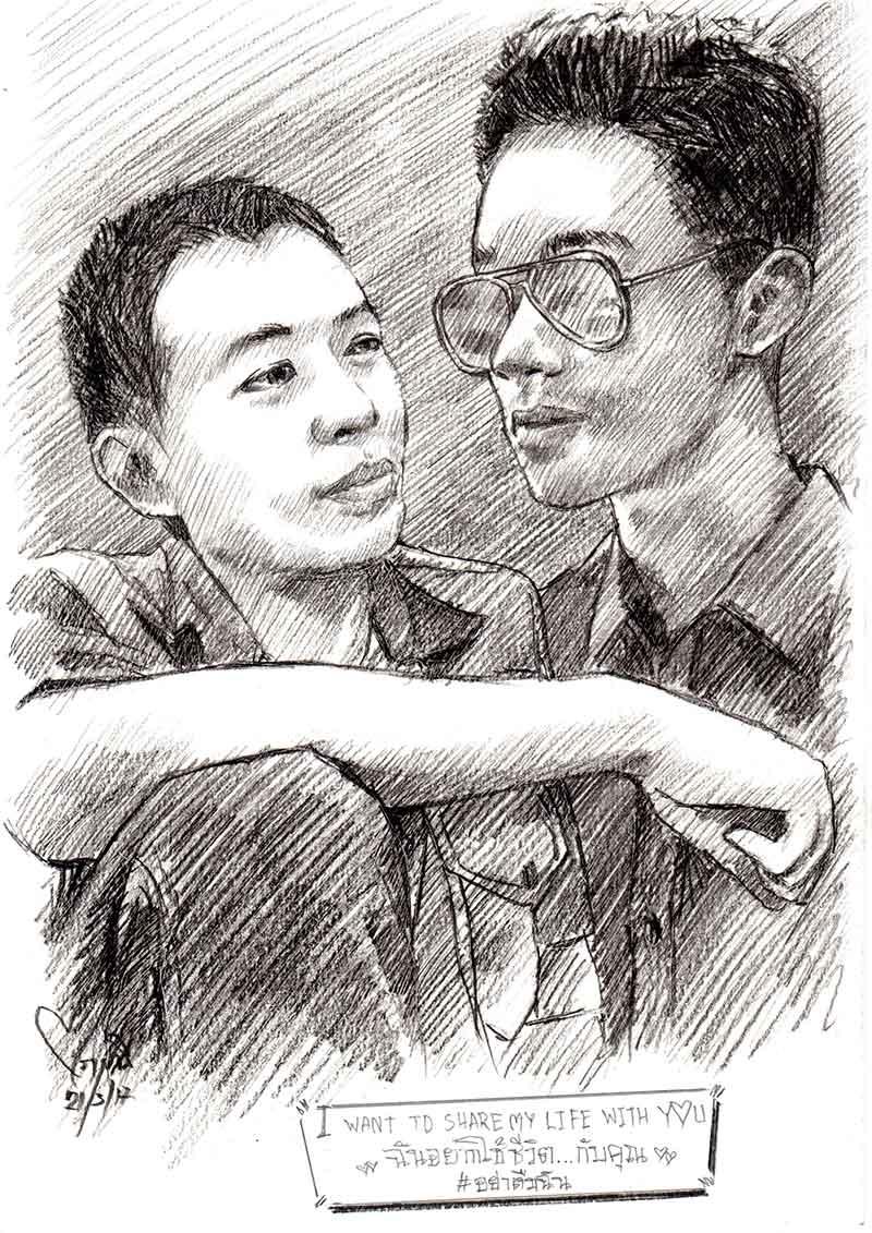 วาดภาพเหมือน-ภาพคู่-ผู้ชาย