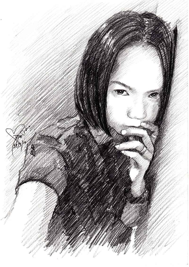 วาดภาพเหมือนผู้หญิง-ลายเส้นดินสอ