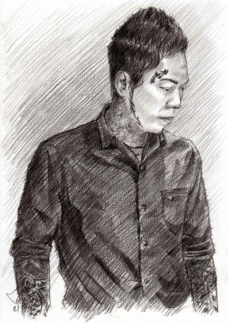 Man-Drawing-Portrait-ภาพเหมือน-ภาพวาดลายเส้นผู้ชาย