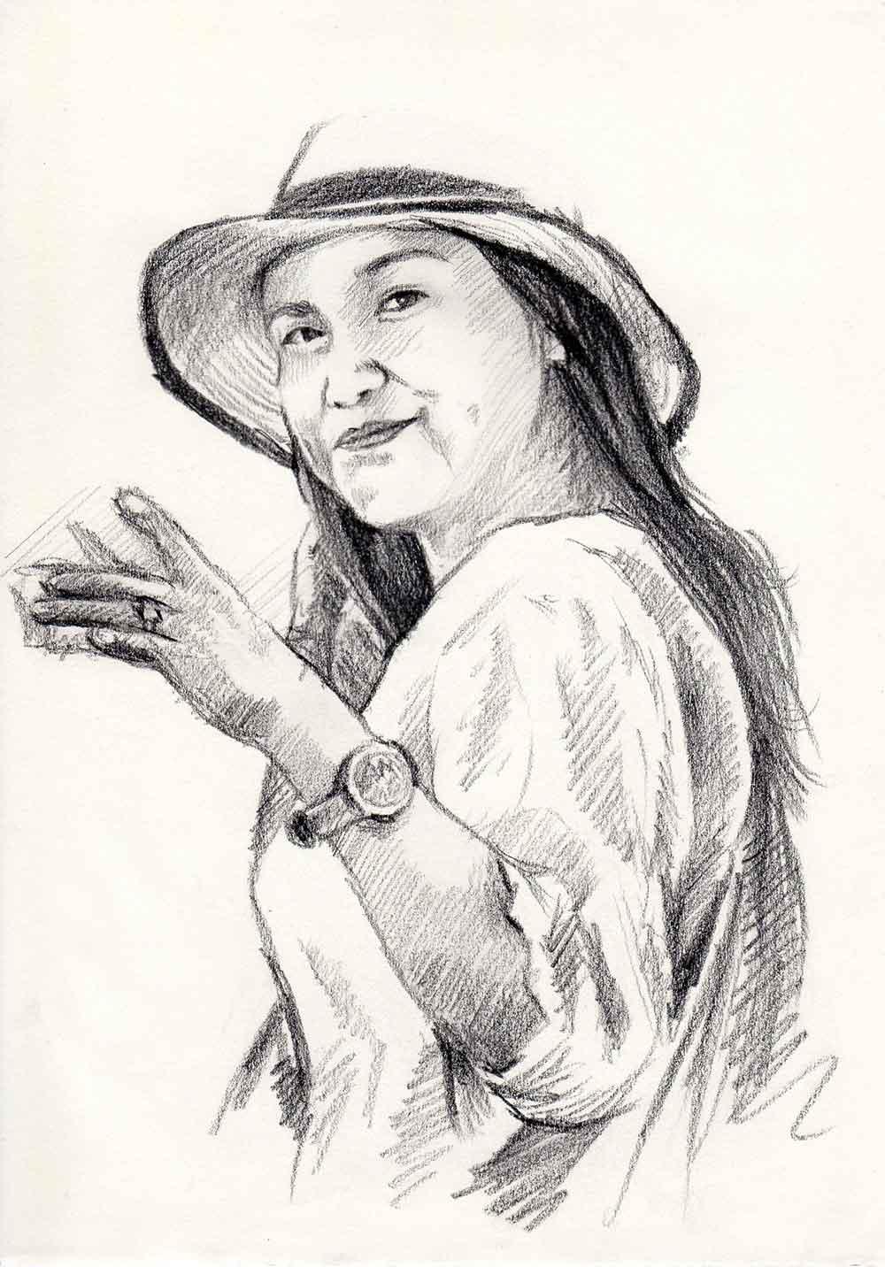 ภาพวาดลายเส้น-ภาพเหมือนผู้หญิง