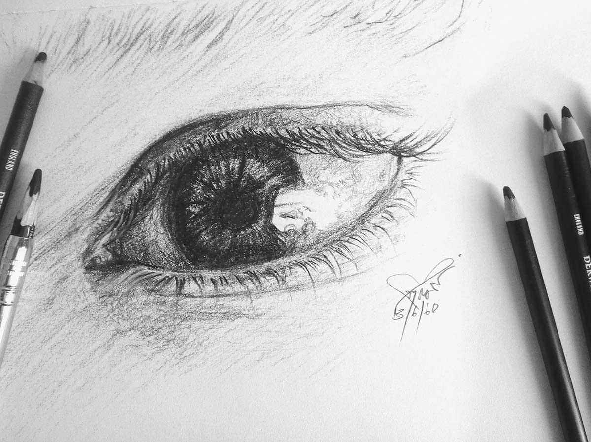 ภาพวาดสไตล์ลายเส้นดินสอ-ภาพวาดประกอบ-ภาพวาดดวงตา