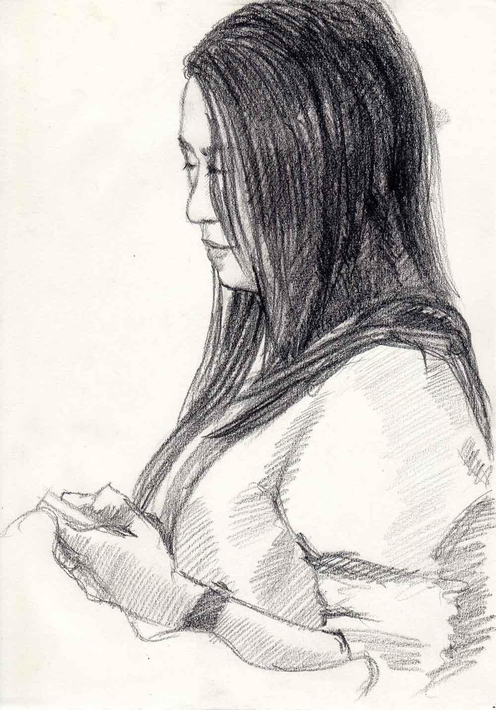 ภาพวาด-ภาพเหมือนผู้หญิง-ภาพวาดลายเส้น-วาดเส้น
