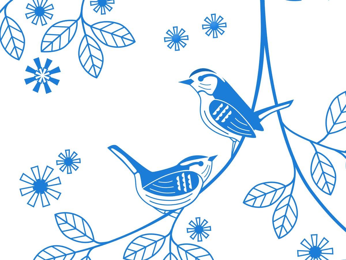 ออกแบบลายแพทเทิร์นสำหรับทำสกรีน DOS LIFE Birds Pattern