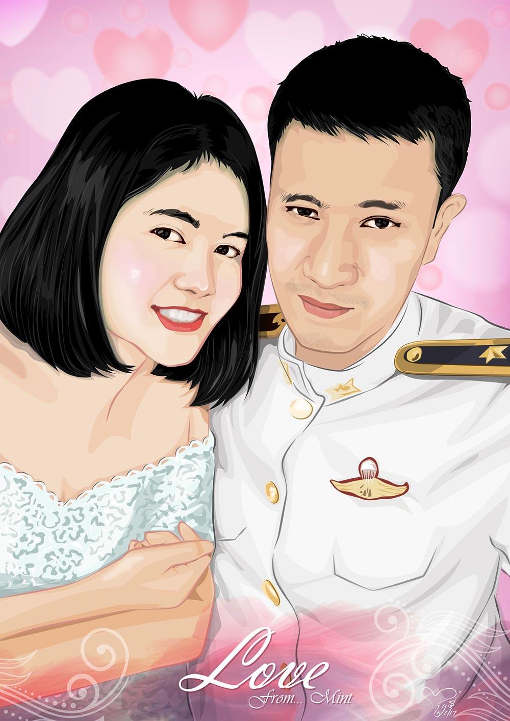 ภาพวาดเวกเตอร์-Vector-portrait-วาดภาพด้วย-illustrator-วาดภาพเหมือนงานแต่ง