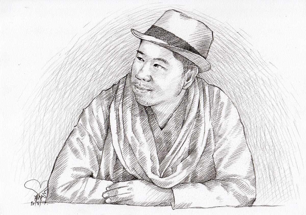 วาดภาพเหมือนสไตล์ลายเส้นดินสอ-ภาพเหมือนผู้ชาย-Drawing-Portrait
