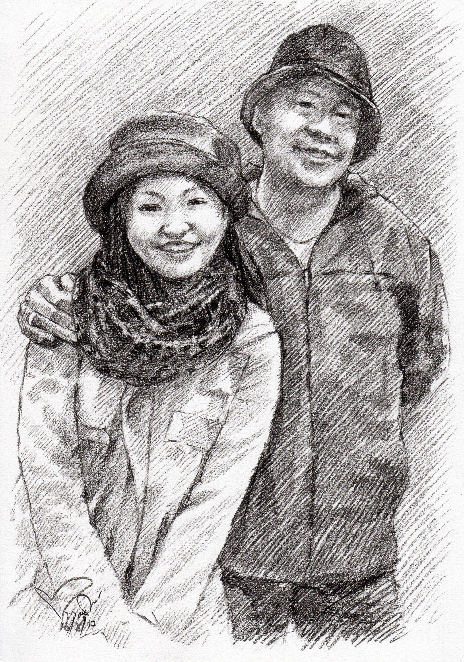 ภาพวาดลายเส้นดินสอ ภาพเหมือน ภาพคู่ วาดภาพเหมือนคู่รัก