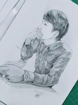 ภาพเหมือนลายเส้นดินสอผู้ชาย ภาพวาดลายเส้น Drawing Portrait