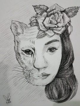 วาดภาพเหมือน ลายเส้นดินสอ ใบหน้าผู้หญิง ตามจิตนาการ